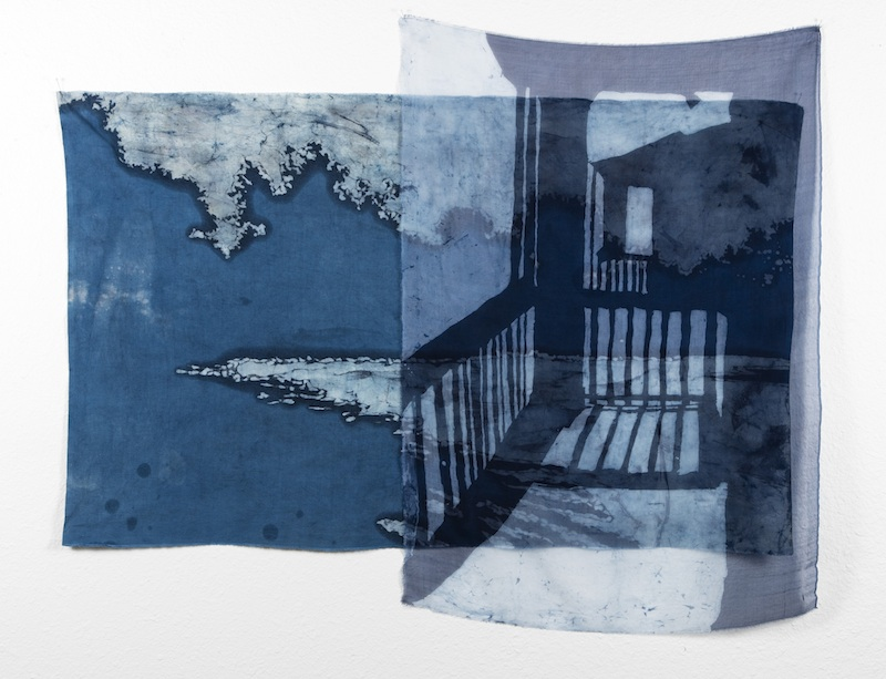 Just Outside the Door   indigo batiked cotton muslin and silk organza  2015