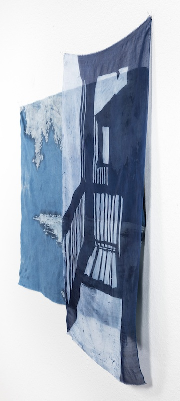 Just Outside the Door   indigo batiked cotton muslin and silk organza  2015    PURCHASE