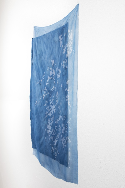 Through the Trees   indigo batiked cotton muslin and silk organza  2015