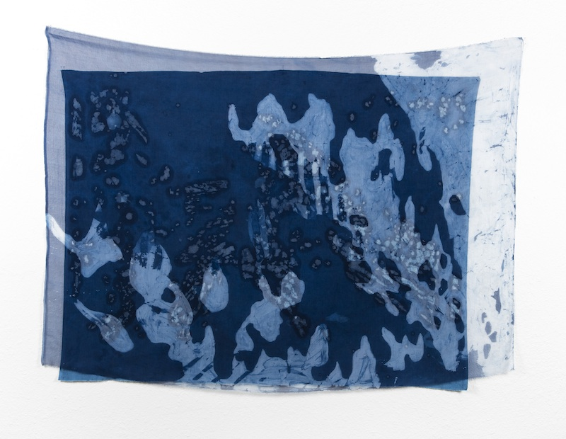 Under the Stairs   indigo batiked cotton muslin and silk organza  2015
