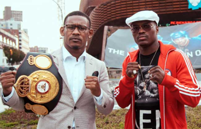 Danny Jacobs and Peter Quillin pose in front of the Barclays Center in Brooklyn before their highly anticipated matchup. Photo credit: Rosie Cohe/SHOWTIME