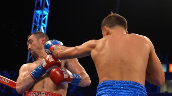 Golovkin lands Vicious jab to Rubio's face.