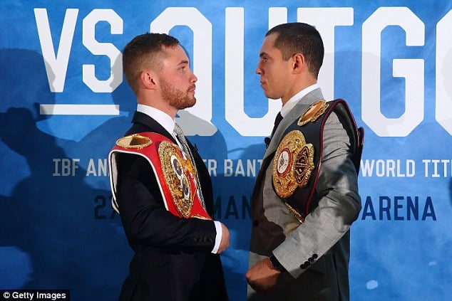 Carl Frampton and Scott Quigg stare each other down ahead of their highly anticipated match up on FEB 27, 2016 in Manchester, England. Photo credit: Getty Images