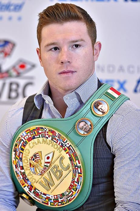 Canelo Alvarez presented WBC Middleweight Title in Mexico City.    Photo Credit: Alma Montiel - World Boxing Council & Eztel Espinoza - Golden Boy Promotions