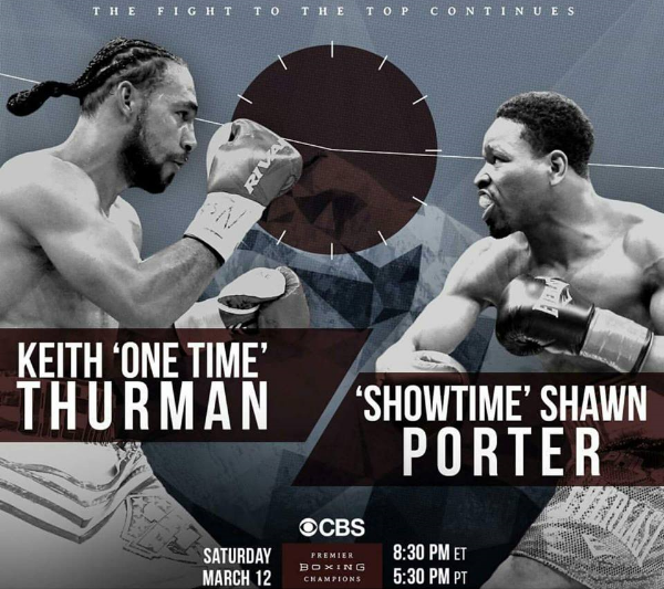 Keith Thurman takes one Shawn Porter March 12, 2016 live on CBS from the Mohegan Sun in Uncasville, CT Photo Credit: Premier Boxing Champions