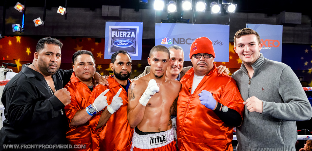 Sammy Valentin after his big victory over Moises Carrasquillo on Telemundo. Photo Credit: Joseph Correa/Frontproof Media