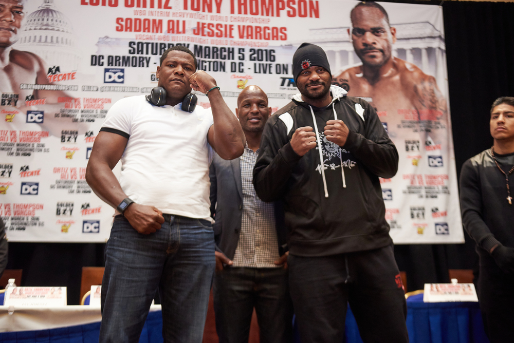 Luis Ortiz and Tony Thompson pose for photo's during their press conference. Photo Credit: Louis Tinsley - Tom Hogan Photos/Golden Boy Promotions