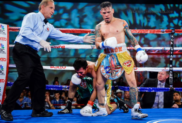 Cruz drop Koasicha with a series of body shots to punctuate his win. Photo Credit: Joseph Correa/Frontproof Media