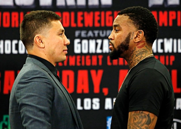 Gennady Golovkin and Dominic Wade stare one another down at the press conference ahead of their match up set for April 23.  Photo Credit Will Hart/K2 Promotions