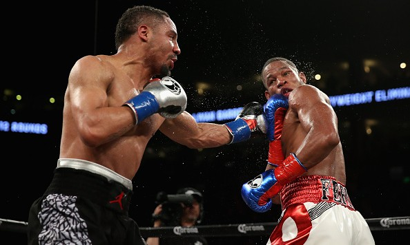 Andre Ward attempts to land a left hook as Sullivan Barrera goes on the defensive. Photo: Ezra Shaw/Getty