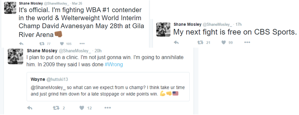 Shane Mosley tweets Boxing