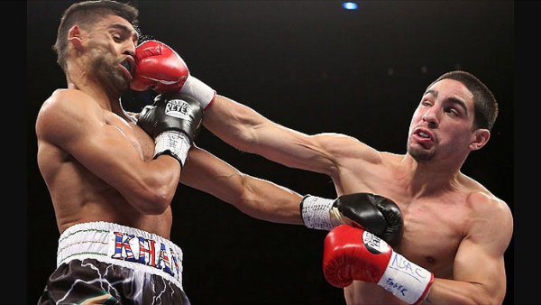Danny Garcia with a right hand on Amir Khan. Photo: Action Images