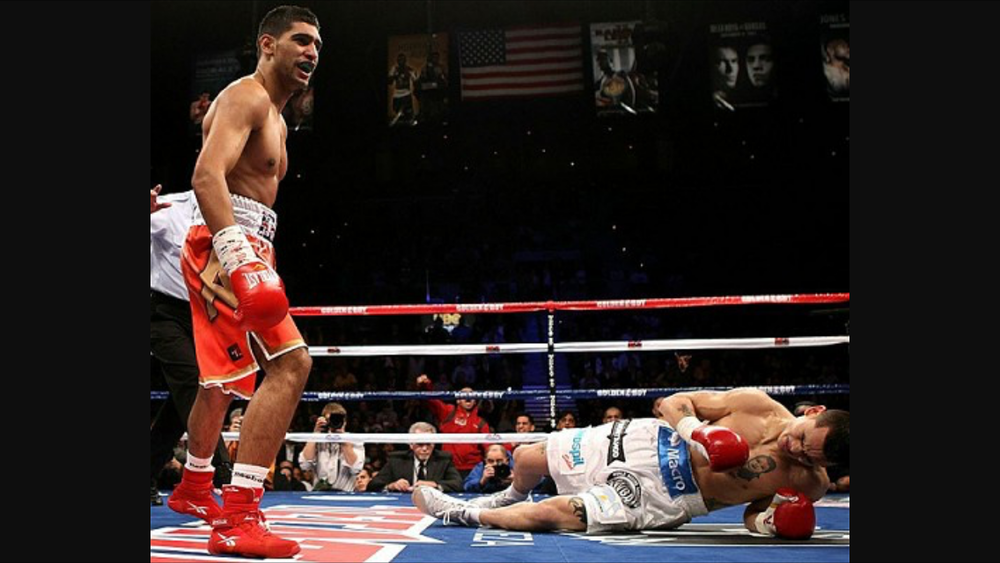 Khan leaves Maidana on the canvass after a lethal left hook to the body. Photo: Getty Images