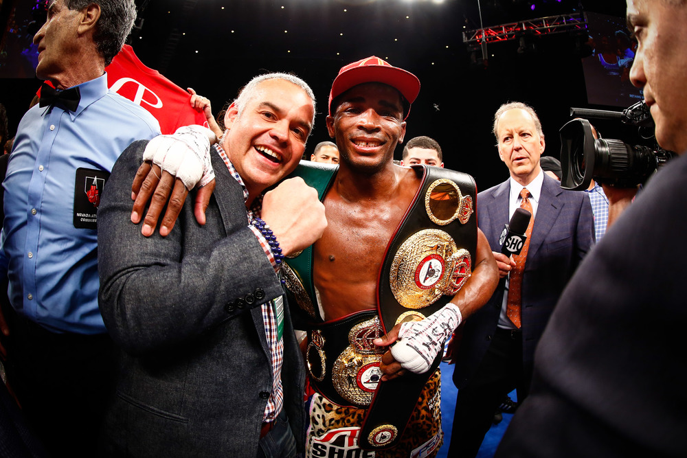 Erislandy Lara celebrates after his win against Vanes Martirosyan on Saturday May 21, 2016. Photo: Stephanie Trapp/Mayweather Promotions