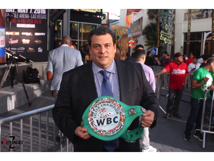 WBC President Mauricio Sulaimán poses with a title at the Canelo-Khan press conference on March 2, 2016. Photo: Harvey Feliciano - Z-BoxingNews/FrontProofMedia.com