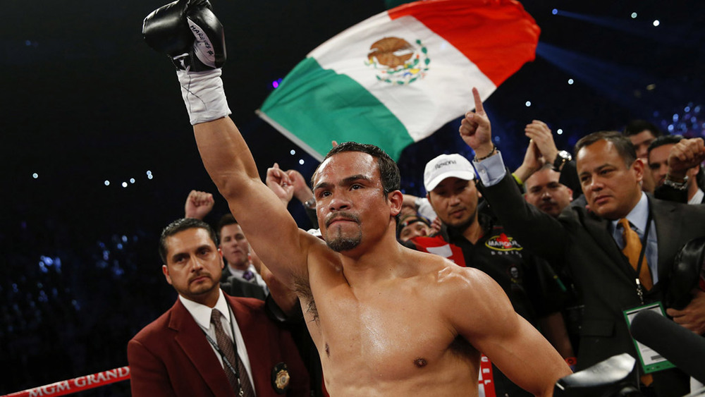Juan Manuel Marquez being introduced before his fourth encounter with Manny Pacquiao in 2012. Photo: Will Hart/HBO