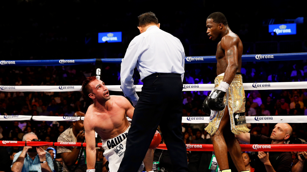 Broner looks upon his fallen opponent Paulie Malignaggi. Photo: Nick Laham/Golden Boy/Getty Images