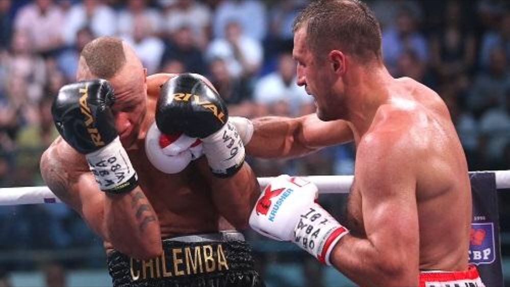 Sergey Kovalev lands a right hand on Isaac Chilemba on the ropes. Photo: Alexandr Safonov/Championat.com