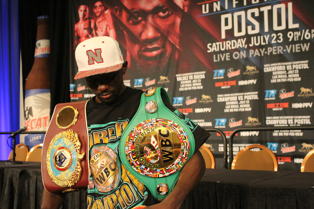 Terence Crawford speaks to the media after unifying both the WBC and WBO world titles. Photo: Harvey Feliciano - Z-BoxingNews/FrontProof Media.