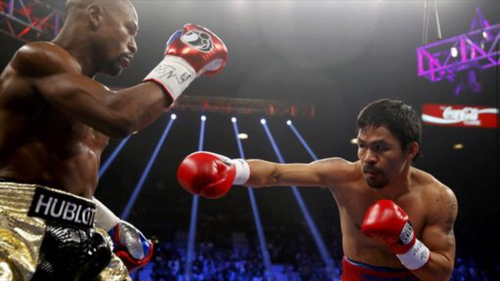 Manny Pacquiao took on Floyd Mayweather in May 2015. Photo: Steve Marcus/Reuters