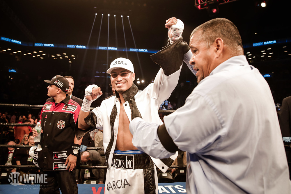 Mikey Garcia after getting his 35th professional victory. Photo: Amanda Westcott/SHOWTIME.