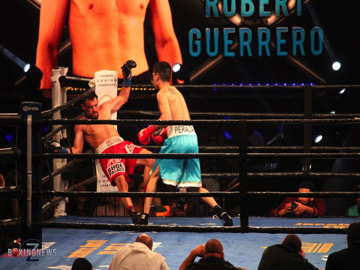 David Peralta knocks Robert Guerrero into the corner during their bout on August 27. Photo: Harvey Feliciano - Z-BoxingNews/FrontProofMedia.com