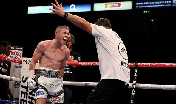 Liam Smith celebrates his title winning victory over John Thompson. Photo: Getty Images