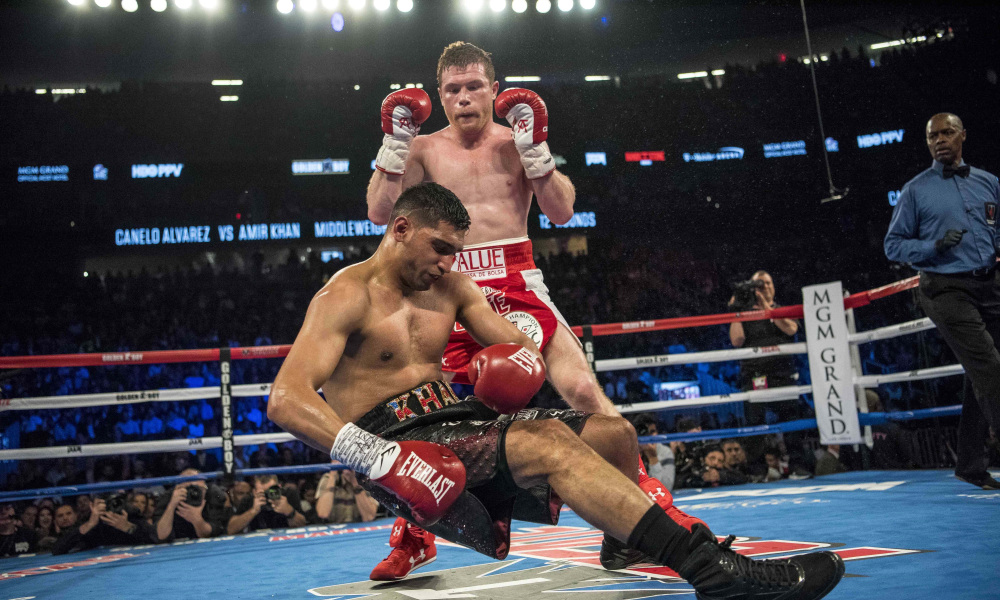 Canelo looking on after he landed the right hand that ended Amir Khan's night. Photo: Joshua Dahl/USA TODAY Sports
