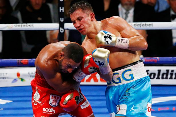 Golovkin lands an uppercut on Kell Brook. Photo: Action Images via Reuters.