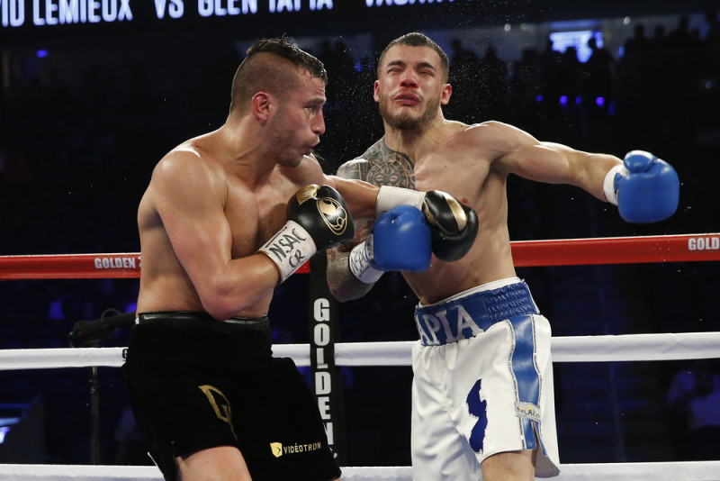 David Lemieux lands a left hook on Glen Tapia. Photo: Will Hart/HBO