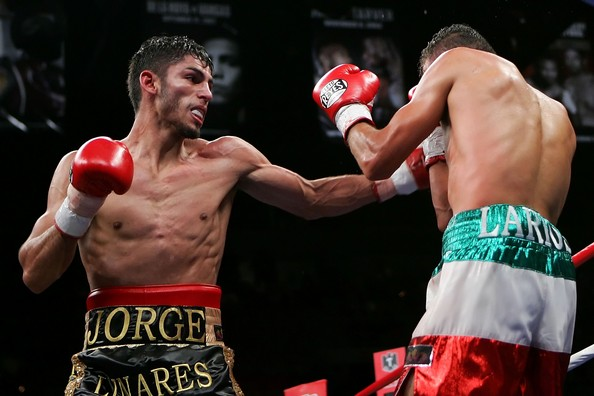 Jorge Linares lands on Oscar Larios. Photo: Ethan Miller/Getty Images Sport