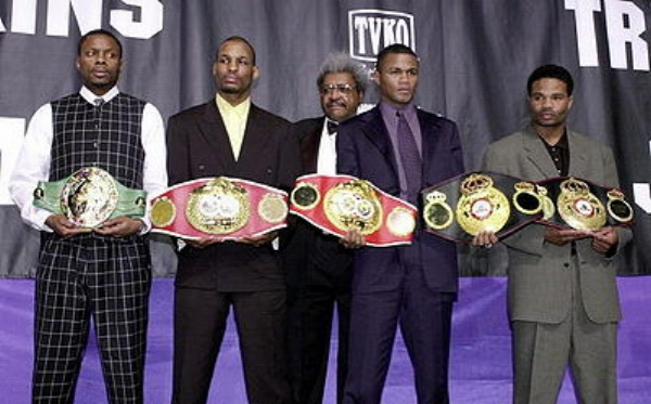 Keith Holmes, Bernard Hopkins, Felix Trinidad and William Joppy. The 2001 middleweight tournament participants. Photo: Stan Honda/AFP Photo