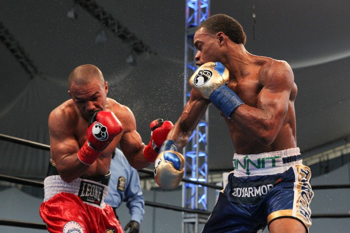 Errol Spence in his last fight against Leonard Bundu in August 2016. Photo: Edward Diller