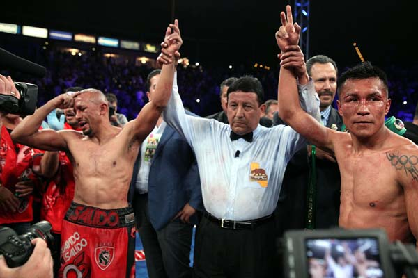 Orlando Salido and Francisco Vargas after their fight of the year was declared a draw. Photo: Ed Mulholland
