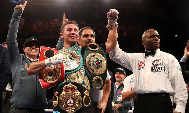 Gennady Golovkin after his victory over Kell Brook. Photo Credit: Nick Potts/AP