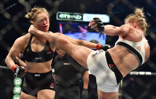 Holly Holm lands the knockout blow on Ronda Rousey at UFC 193. Photo: Getty Images