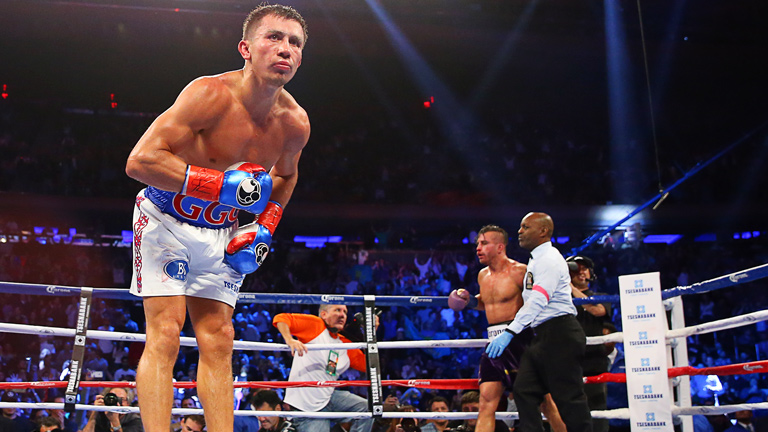 Gennady Golovkin after his win over David Lemieux in October 2015 in New York. Photo: Ed Mulholland/K2