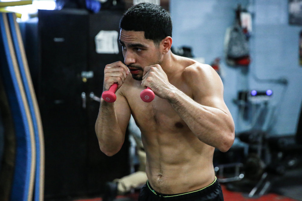 Danny Garcia shadow boxing during his media day leading up to his tune up bout against Samuel Vargas. Photo credit: Darryl Cobb/King's Promotions/Premier Boxing Champions