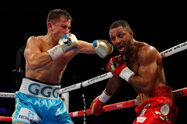 Gennady Golovkin throws a left hook at Kell Brook in their middleweight title fight that took place on September 10. Photo: Andrew Couldridge/Reuters