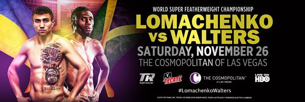 Vasyl Lomachenko will meet Nicholas Walters Saturday November 26, in Las Vegas, Nevada.