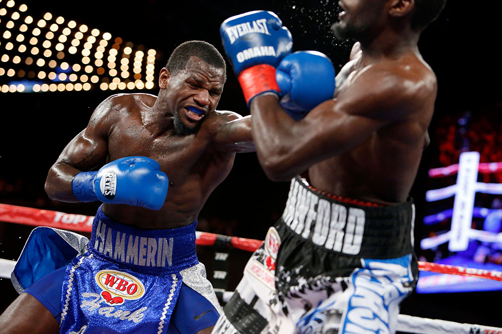 Lundy lands a left hand on Terence Crawford in their February 2016 fight. Photo: Will Hart/HBO
