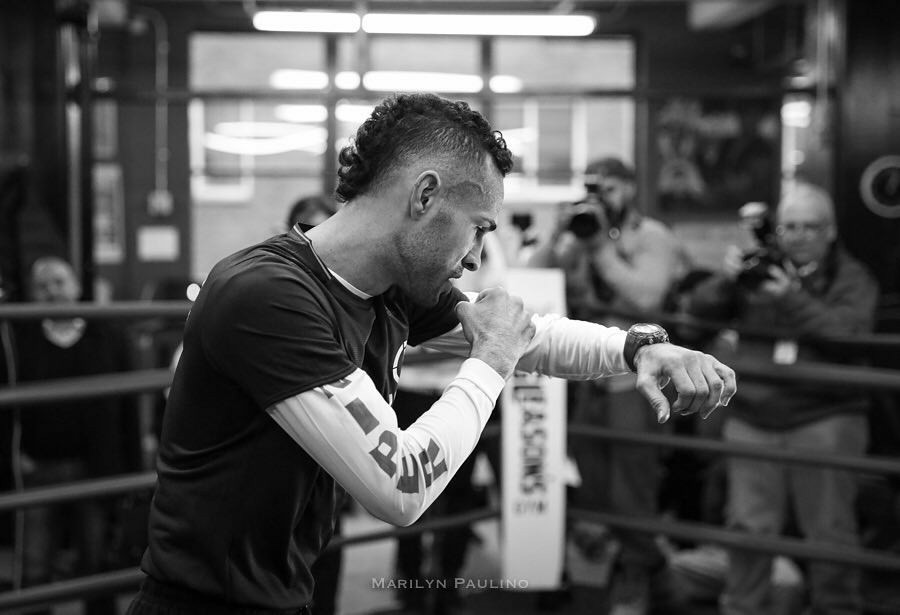 Jose Pedraza at his media day workout before his fight with Gervonta Davis this Saturday night. Photo: Marilyn Paulino/mvpboxpics