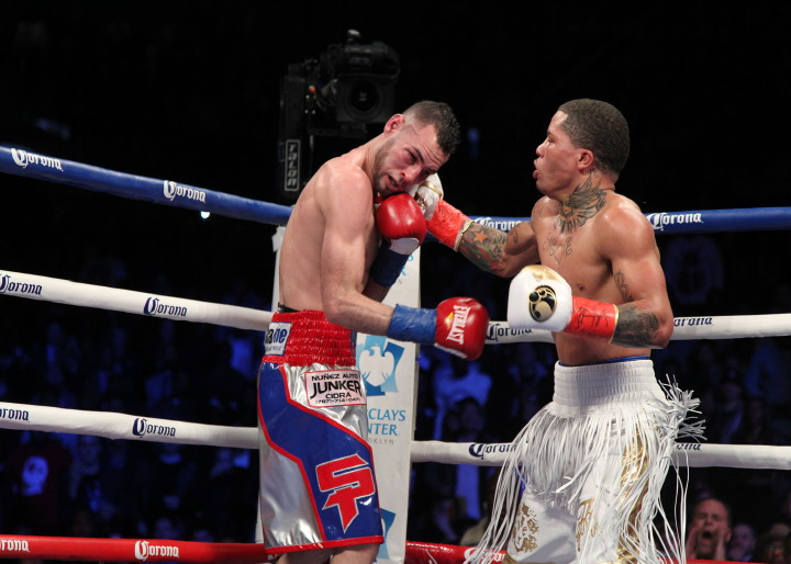 Gervonta Davis lands a right hook in the middle of a combination on Jose Pedraza. Photo: Tom Casino/Showtime