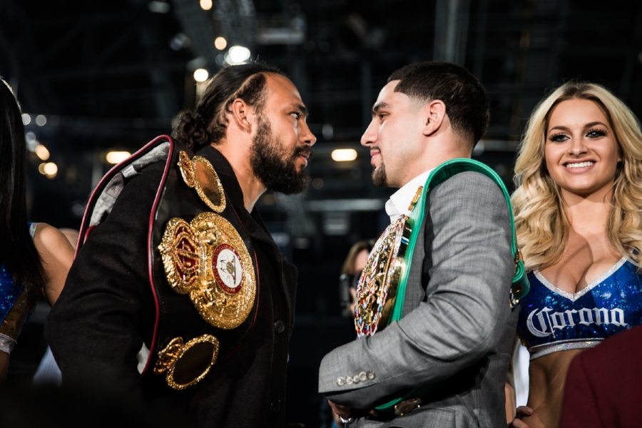 Keith Thurman and Danny Garcia stare each other down at the press conference. Photo Credit: Amanda Westcott/SHOWTIME