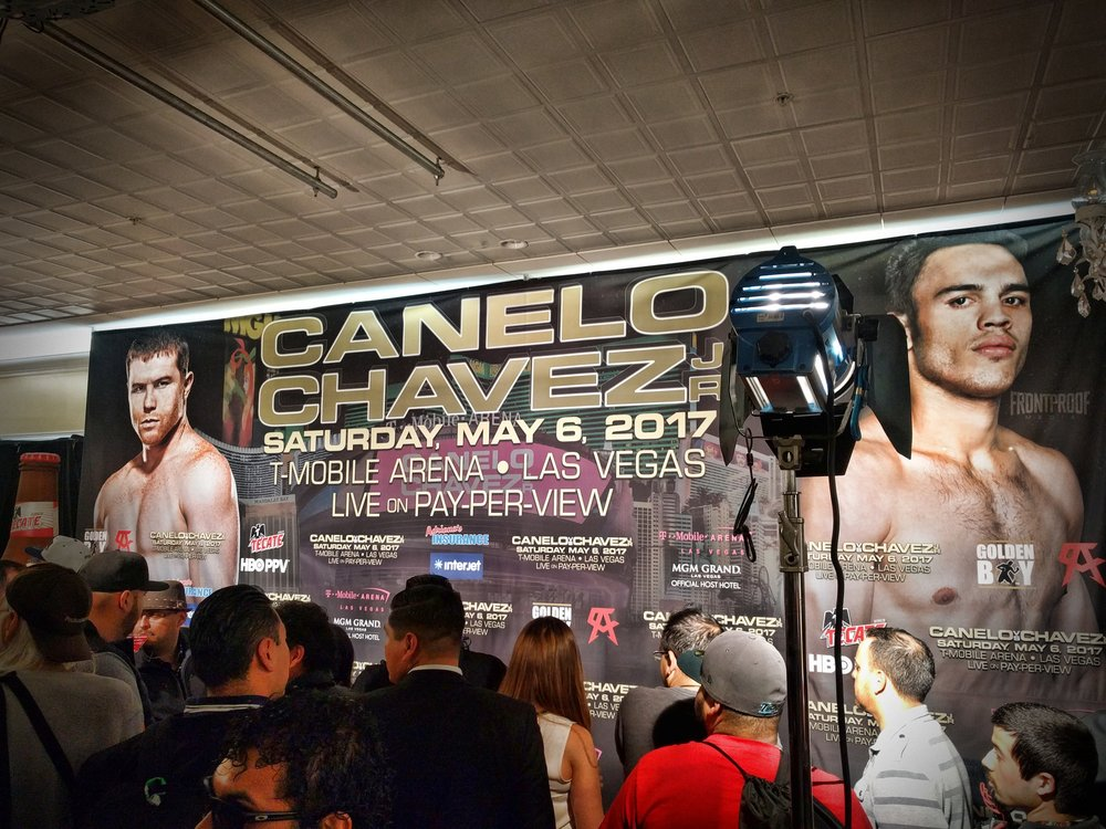 Canelo-Chavez Jr. promotional poster inside the press room from their Los Angeles press conference. Photo: Danny Z/Frontproof Media