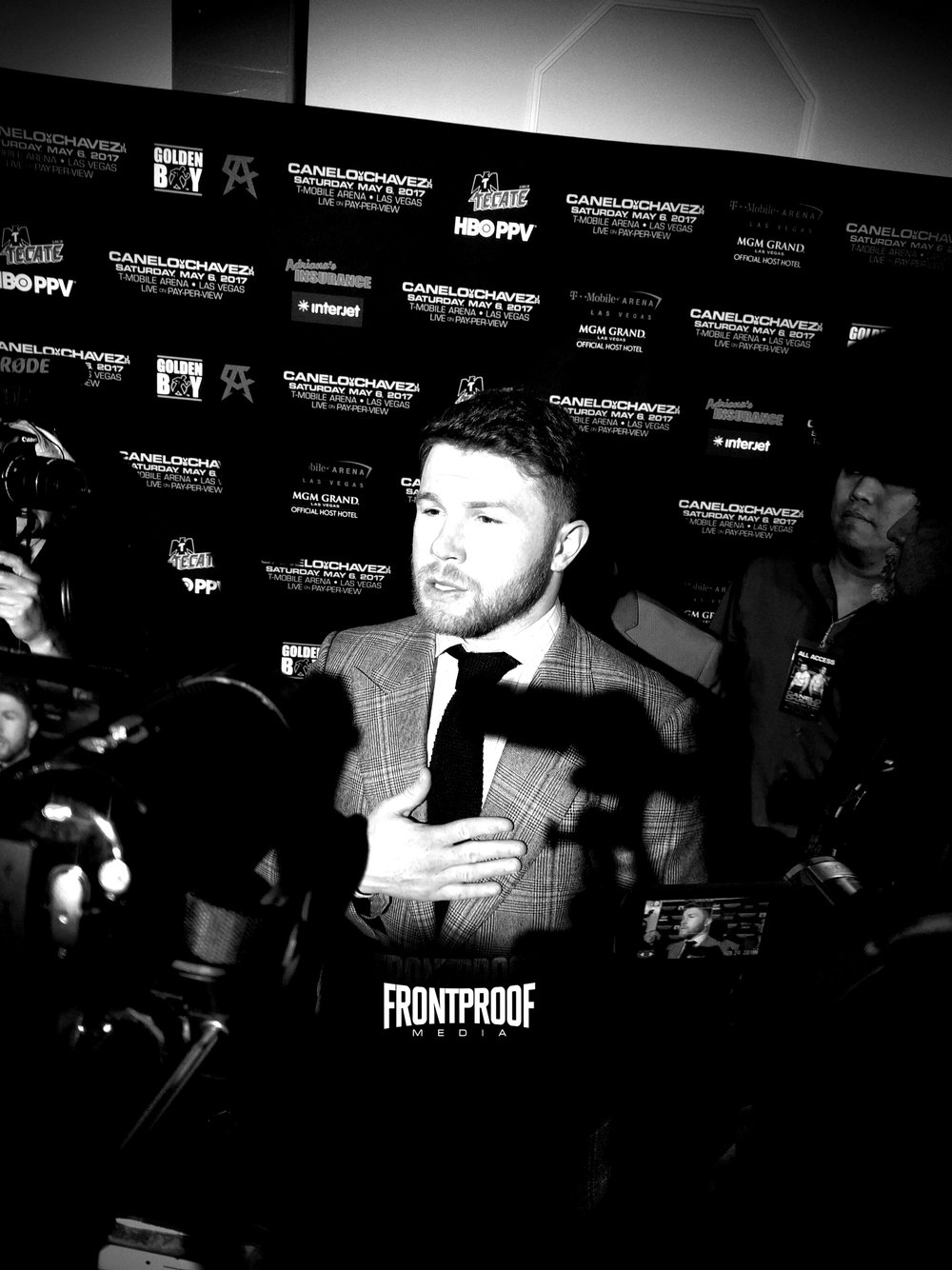"Saul ""Canelo"" Alvarez speaks to the press in Los Angeles. Photo: Danny Z/Frontproof Media"