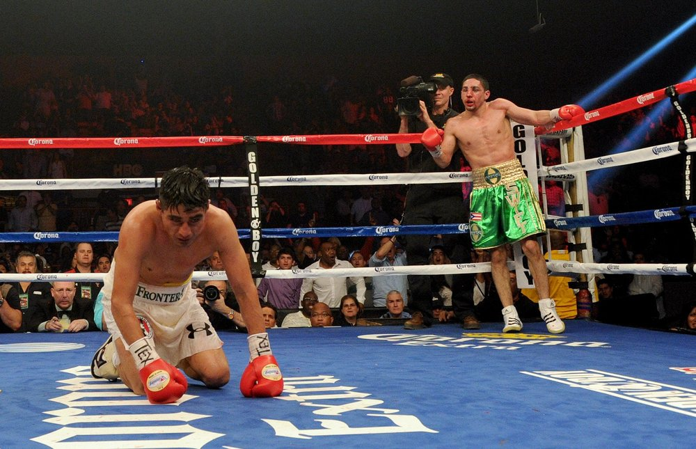Danny Garcia after scoring a knockdown against Erik Morales to win his first world title in March 2012. Photo: Naoki Fukuda