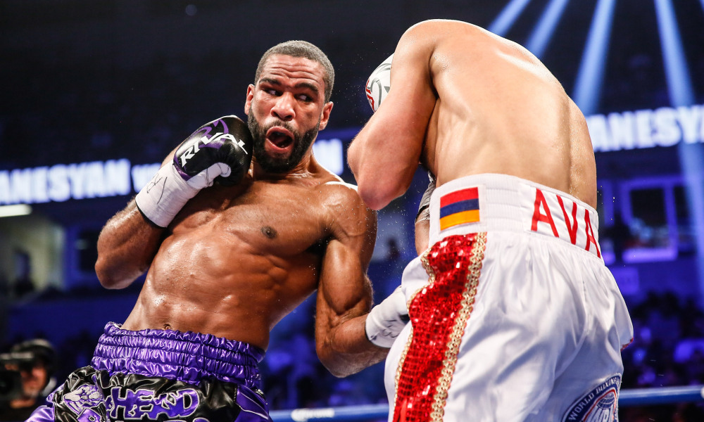 Lamont Peterson lands a body shot on David Avanesyan in their fight on   Februay   18th. Photo: Stephanie Trapp/Showtime