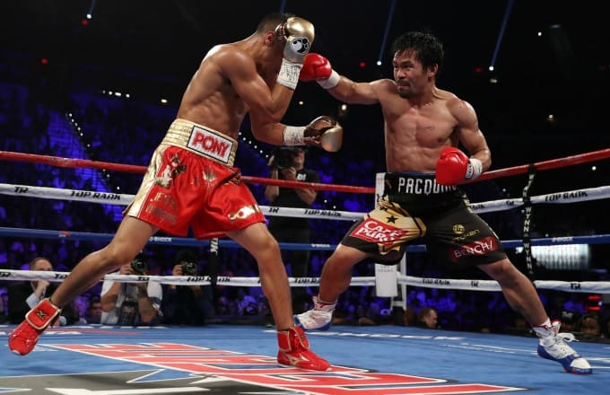 Manny Pacquiao in his last fight against Jessie Vargas in November 2016 for the WBO welterweight championship. Photo: Christian Peterson/Getty Images