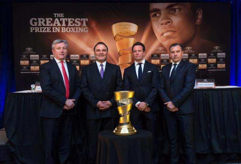 (From Left, Matthew Hooper, Executive VP of MTG, Richard Schaefer, Comosa's Chairman of the Americas, Kalle Sauerland, Comosa's Chief Boxing Officer & Roberto Dalmiglio, Comosa's Head of Management Board; Photo Credit: Simon Lewis)